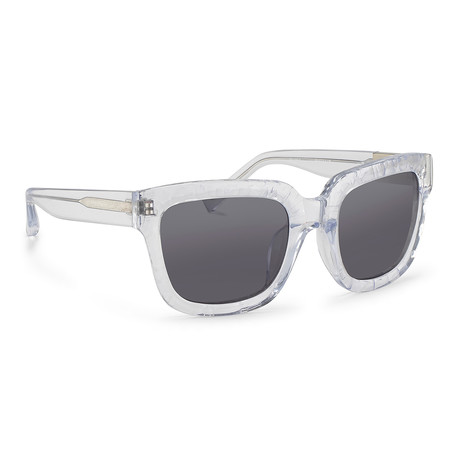Men's PL51C7 Sunglasses // Carved Clear + Gray