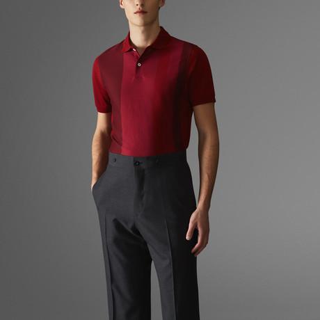 Vertical Block Stripe Polo Shirt // Deep Pink + Red (S)