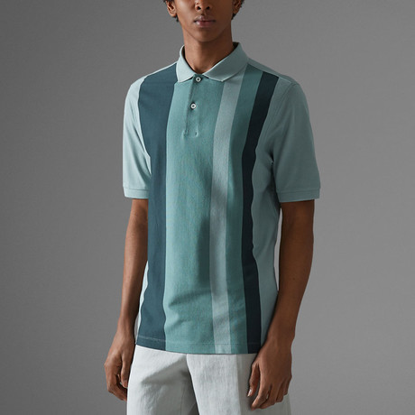 Vertical Block Stripe Polo Shirt // Teal + Green (S)