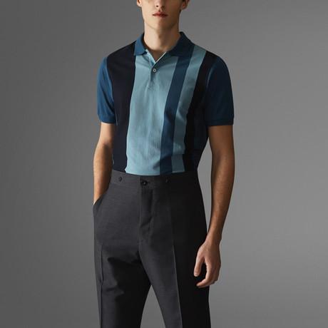Vertical Block Stripe Polo Shirt // Deep Blue + Blue (S)
