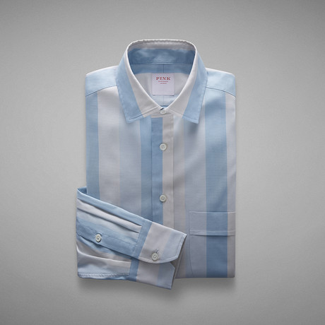 Oxford 70 Wide Stripe Shirt // Pale Blue + Neutral (S)