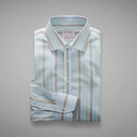 Pop Fresh End On End Stripe Shirt // Pale Blue + Green (US: 13L)