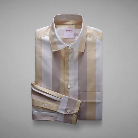 Oxford 70 Wide Stripe Shirt // Cream + Neutral (S)