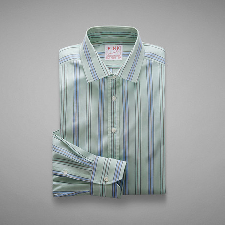 Piumino Fine Stripe Shirt // Pale Green + Blue (US: 13L)
