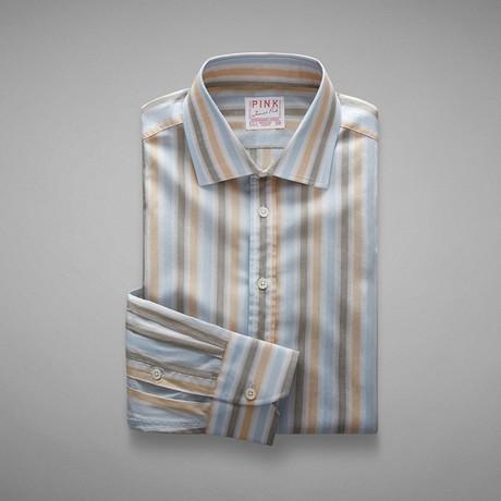 Pop Fresh End On End Stripe Shirt // Pale Blue + Brown (US: 13L)