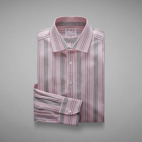 Piumino Fine Stripe Shirt // Pale Pink + Gray (US: 13L)