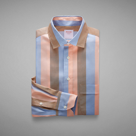 Oxford 70 Wide Stripe Shirt // Pale Blue + Pink (S)