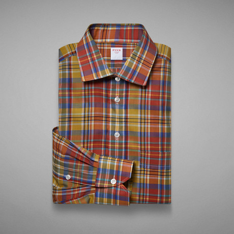 Chambray Madras Check Shirt // Orange + Yellow (S)