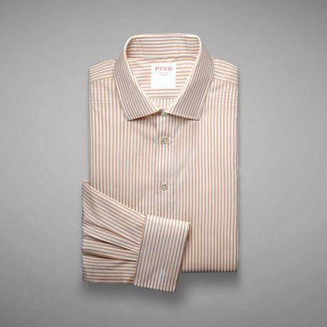 Piquet 100 Stripe Shirt // Pale Yellow + White (US: 13L)