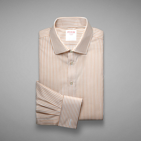 Piquet 100 Stripe Double Cuff Shirt // Pale Yellow + White (US: 13L)