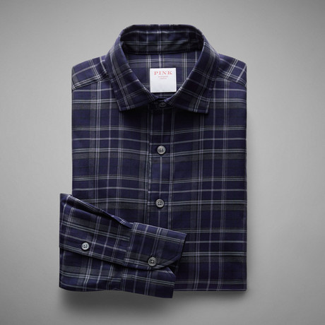 Ushuaia Non Brushed Check Shirt // Navy + Gray (S)