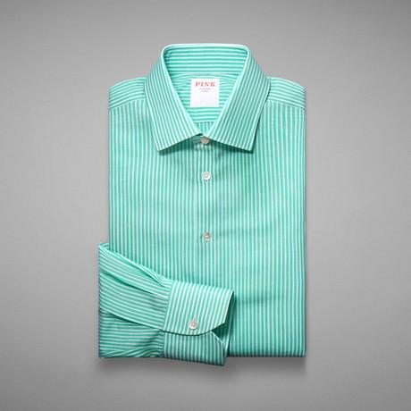 Provence Stripe Button Cuff Shirt // Pale Green + White (US: 13L)