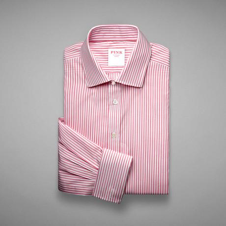 Piquet 100 Stripe Double Cuff Shirt // Pink + White (US: 13L)