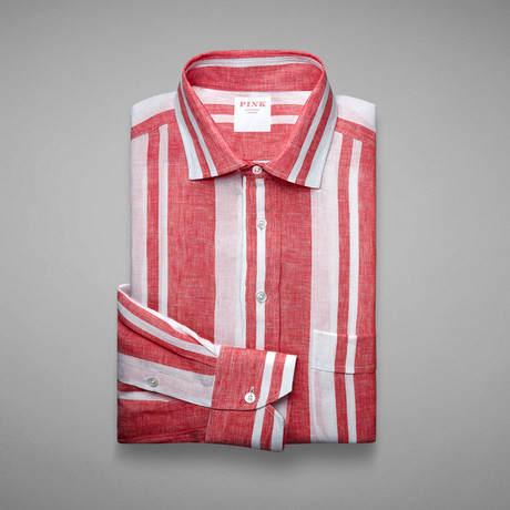 Hollywood Wide Stripe Shirt // Red + White (S)