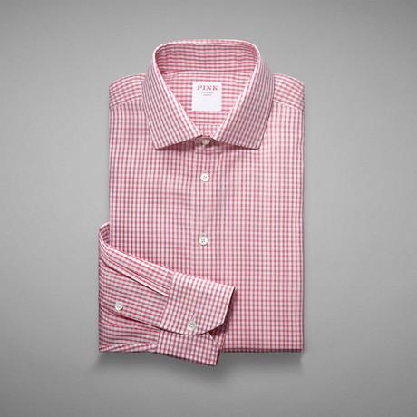 Piquet 100 Check Shirt // Pink + White (US: 13L)