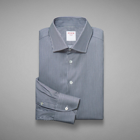 Travel Twill Micro Stripe Shirt // Navy + White (US: 13L)