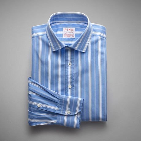 Vintage Downing Double Stripe Shirt // Blue + White (US: 13L)