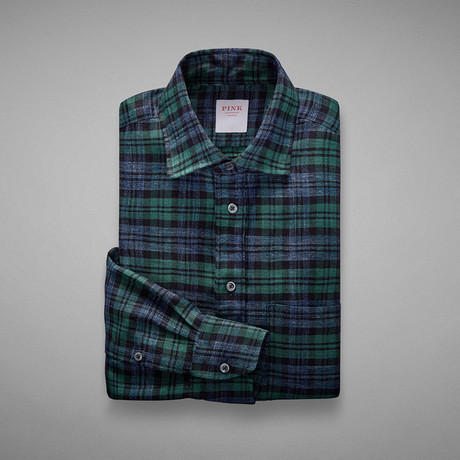 Flannel Check Shirt // Green + Blue (S)