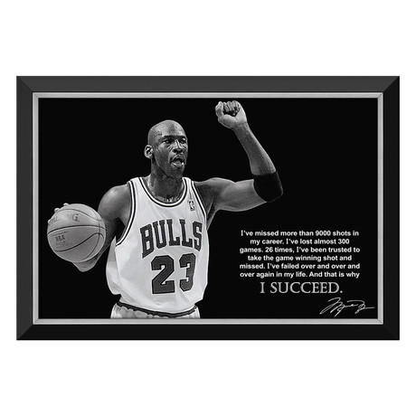 """Why I Succeed"" Michael Jordan // Framed Canvas Print // Facsimile Signature"