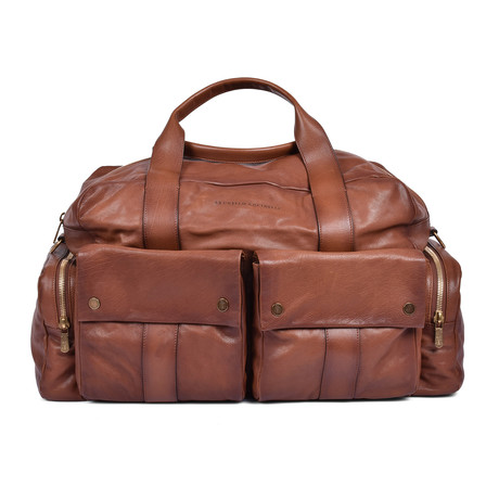 Brunello Cucinelli // Leather Duffle Travel Bag // Brown