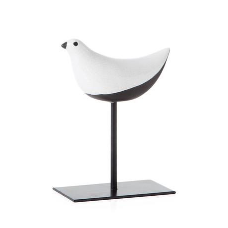 "Finch Crackle Glaze Bird On Stand Sculpture (8""H)"
