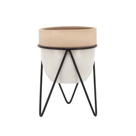 "Sedona // Ceramic Planter On Stand (9.5""H)"