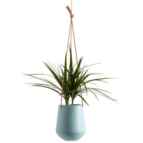 Ashbury // Leather Hanging Ceramic Drop Pot Planter (Gray)