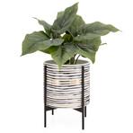"""Akina Horizontal Line Pattern // Ceramic Standing Planter (9.5""""H)"""