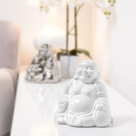 Laughing Buddha Ceramic Statue // White