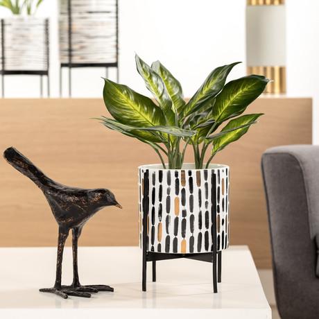 "Akina Vertical Stroke Pattern // Ceramic Standing Planter (9.5""H)"