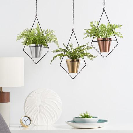 Mina Diamond Frame // Hanging Drop Pot Planter (Silver)
