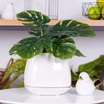 Mod Cube // Ceramic Drop Pot Planter + Base