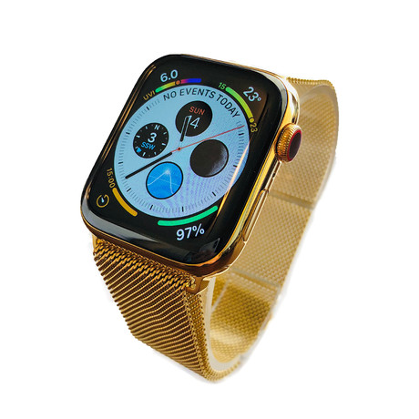 24K Gold Apple Watch Series 5 // With Gold Milanese Loop Band // 44mm