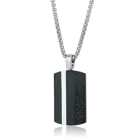 Vertical Line Dog Tag Necklace // Black + Silver