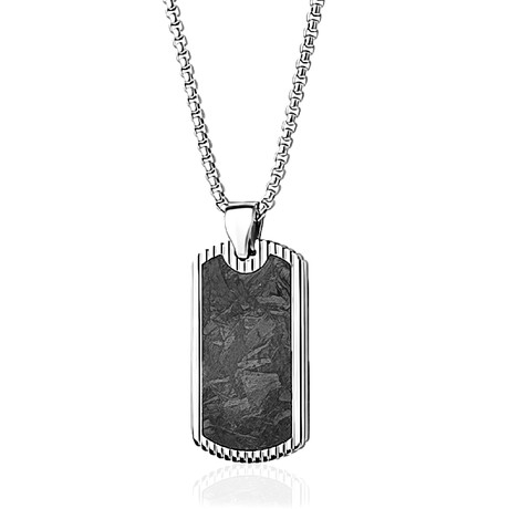 Beaded Edge Dog Tag Necklace // Silver + Black