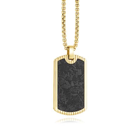 Dog Tag Necklace // Gold + Black