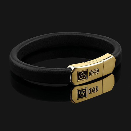 Black Leather Signature Bracelet // Gold + Black (X-Small)