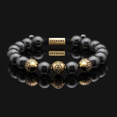 Premium Hematite Bracelet // Gold + Metallic Gray (X-Small)