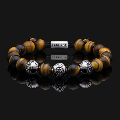 Premium Tiger Eye Bracelet // Silver + Yellow + Brown (X-Small)