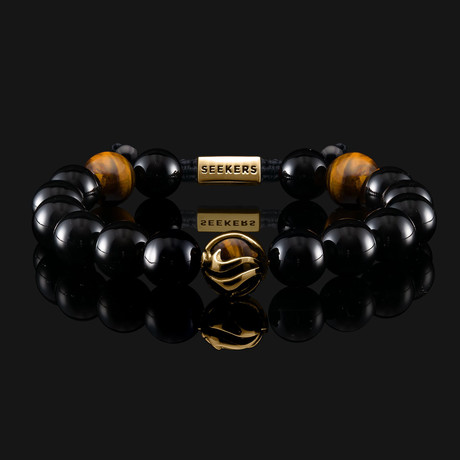 Waves Dragon Bracelet // Gold + Black (X-Small)