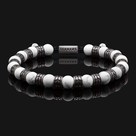 Royale Howlite Matte Bracelet // Black Gold + White (X-Small)
