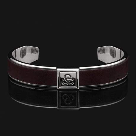 Dark Brown Leather Cuff Bracelet // Silver + Dark Brown