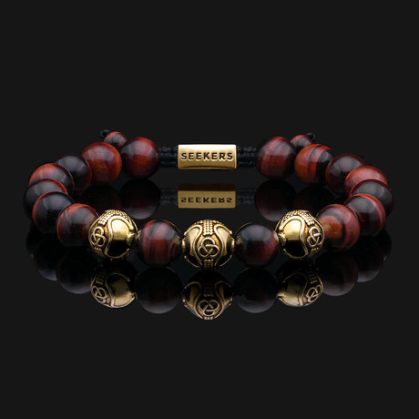 Premium Red Tiger Eye Bracelet // Gold + Red (X-Small)