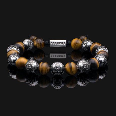 Prestige Tiger Eye Bracelet // Silver + Yellow + Brown (X-Small)