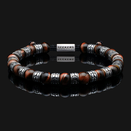 Royale Red Tiger Eye Bracelet // Silver + Red (X-Small)