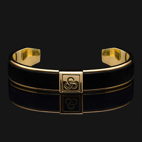 Black Leather Cuff Bracelet // Gold + Black
