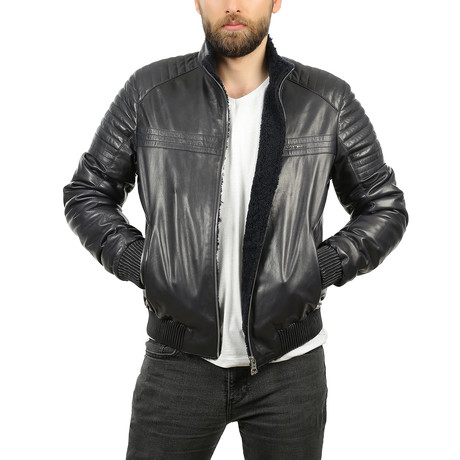 Pete Leather Jacket // Navy Blue (XS)