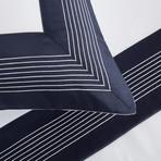 Porto Bedset // White + Navy (Queen)