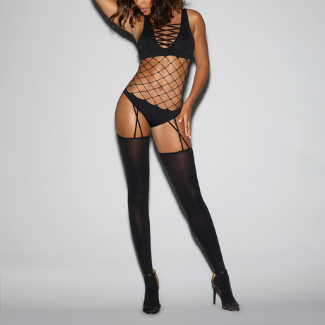 Strappy Fence Net Bodystocking // Black // One Size