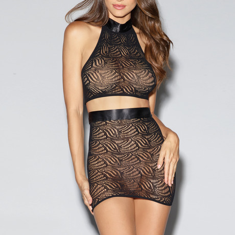 Mosaic Lace Halter Bralette + Skirt Set // Black // One Size